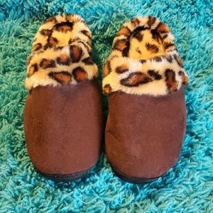 Shoes - Brown animal print slippers